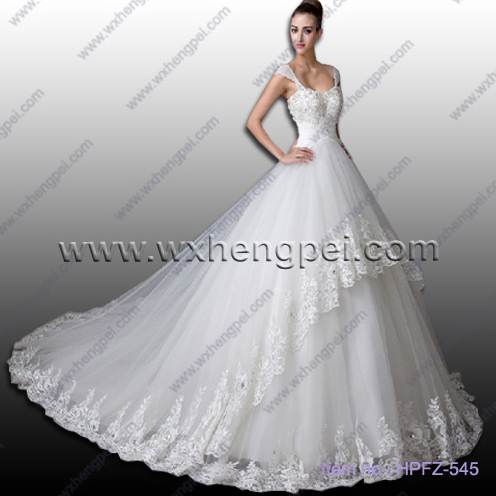 A word shoulder set auger floor length lace wedding dre