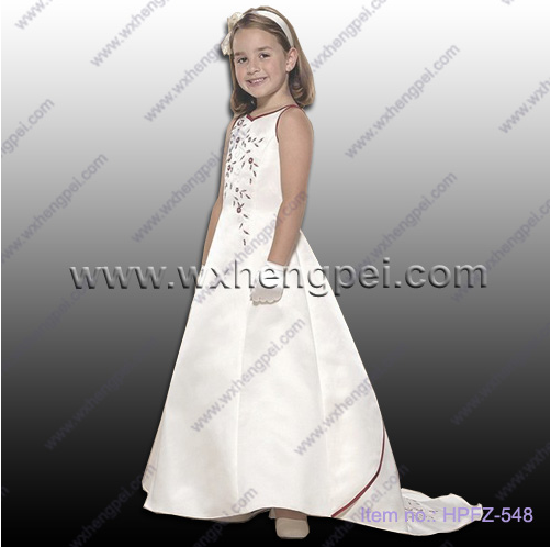 The new delicate princess yarn lace flower girl dress