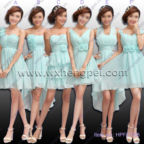 The new 6 styles bridesmaid light green colors dresses