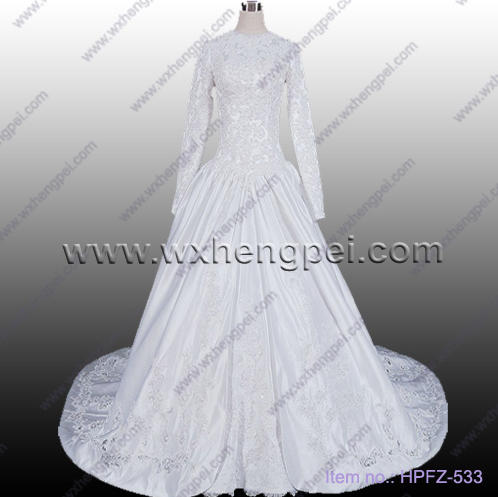 Long sleeve diamond floor length wedding dresses