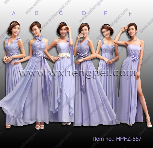 The new 6 styles bridesmaid purple colors dresses