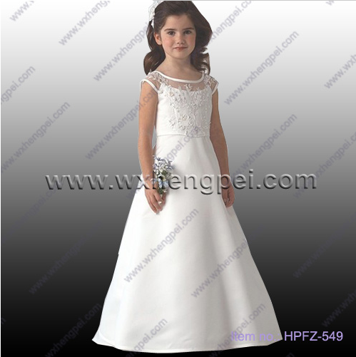 New style delicate princess yarn lace flower girl dress