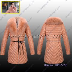Genuine Leather Down Overcoat Jacket (HPFZ-518)