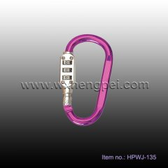 D shape steel locking carabiner for climbing (HPWJ-135)