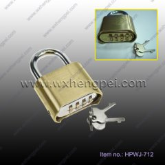 brass padlock with 4-combination bottom/ Brass Combination Nu