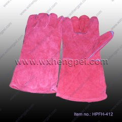 Welding Gloves made of caw split leather(HPFH-412)