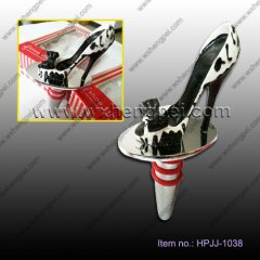 Wedding black and white pattern big bow shoes wine stopper(